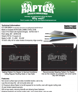 raptor spec sheet